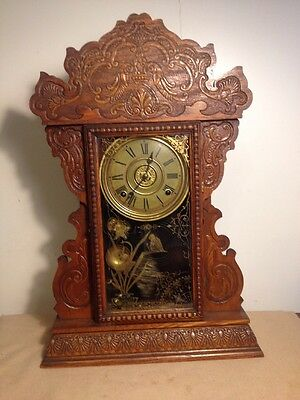 GTC Vintage E.N.Welch Ginger Bred 8 Day Clock 1890 Works Keeps Time 15x23-1/2