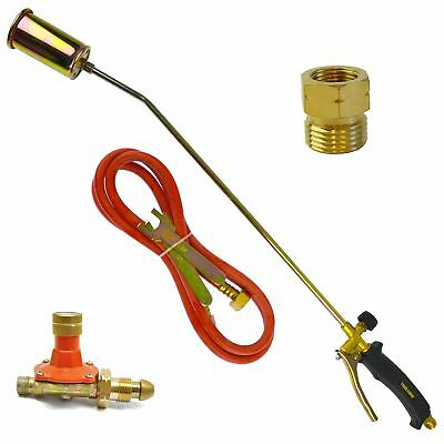 Gas Torch Burner 2m Hose Roofer Plumber Weed Propane & Butane & Regulator