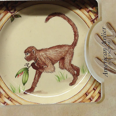 """American Atelier Monkey Salad Plate 8"""" In Original Box With Brass Hanger"""