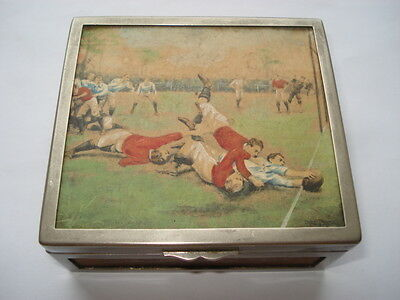 C1910 A Rugby Match Hand Painted Picture By Ernest Prayer Cigarette Box