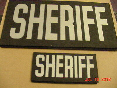 Sheriff Patches with hook & loop  with reflective lettering . Comes as a set