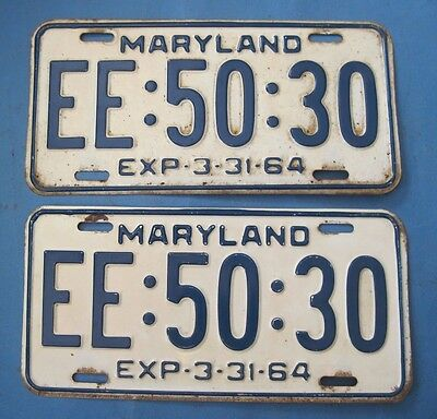 1964 Maryland License Plates Matched Pair