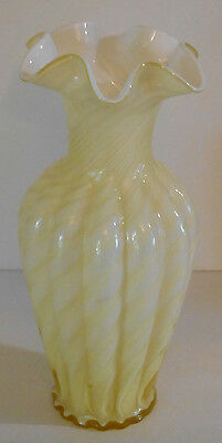 "Fenton 11"" Spiral Optic Candleglow Yellow Opalescent Vase"