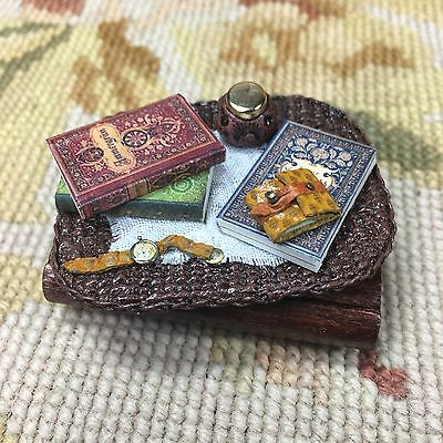 Pat Tyler Dollhouse Miniature Wicker Basket Tray W/Books Watch Wallet