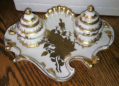 Antique ORLIK German Porcelain Double Inkwell~Hand Painted~Gold Gilt~Beautiful!
