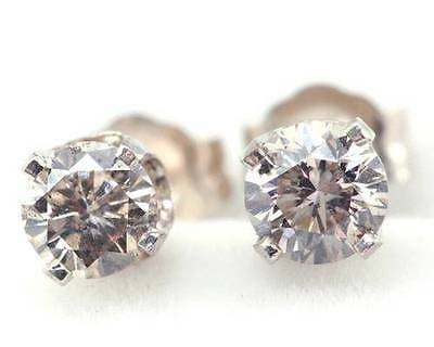 0.60ct Genuine Champagne Diamond 14K 14KT Solid White Gold Earrings Studs