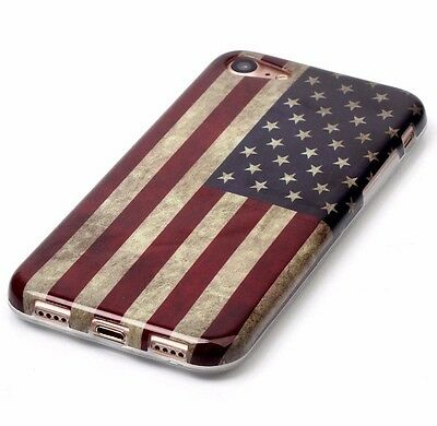 iPhone 7 / 8 - Hard TPU Rubber Gummy Skin Case Cover Patriotic USA American Flag