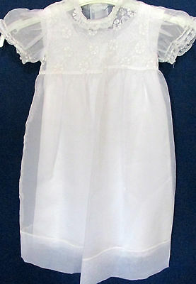 Vintage White Christening Lace Embroidered Infant Dress & coat Baby 9-12 Mos
