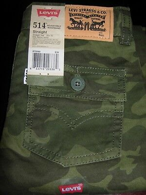 Levi's Boy's 514 Adjustable waistband Jeans Size 4 & 5 Camo Camouflage $38 NWT