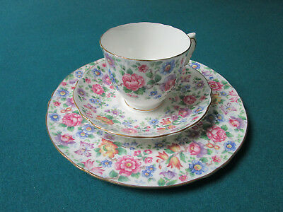 Crown Staffordshire England TRIO CUP SAUCER CAKE PLATE , SPRINGTIME CHINT