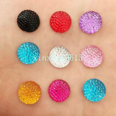40PCS Acrylic Round Dotted Rhinestone Flatback 12mm Cabochon Gem 8-Color Choices