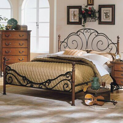 new twin full queen king metal wood mattress bed frame headboard footboard brown