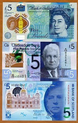 SET, Great Britain 3 x 5 pounds,  2016, P-New, 3 new POLYMER banknotes, UNC