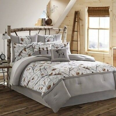 NEW Twin Full Queen King Bed Gray Grey White Trees Snow Camo 4 pc Comforter Set