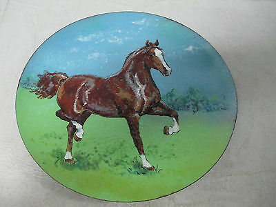 Hand Painted Horse Equestrian Glass Plate