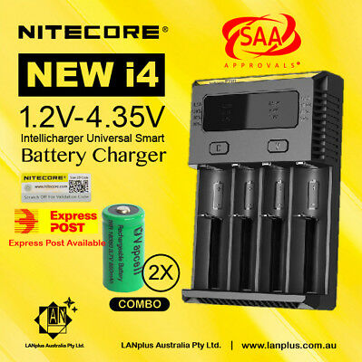 Nitecore New I4 Battery Charger + 2X Vapcell 18350 850mAH Li-ion Rechargeable Ba