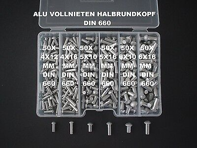 300 Assortment 4/5/6 Aluminum Rivets Semi-Round Head Solid Din 660+Box New (2)