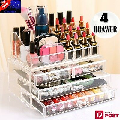 Clear Acrylic Makeup Holder Cosmetic Organizer 4 Drawers Storage Jewelry Case AU