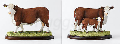 Border Fine Arts Statue Pair Hereford Bull + Hereford Cow & Calf Figurine NEW