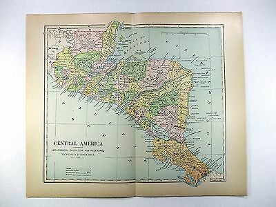 Original 1898 Map of Central America by Fisk & Co.