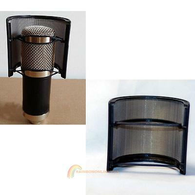 Double Layer Recording Mic Microphone Windscreen Filter Mask Shield Black