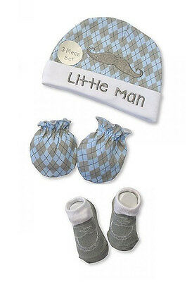 Baby Boys Hat, Socks and Mitten Winter Set - Little Man - (0-6 Months)