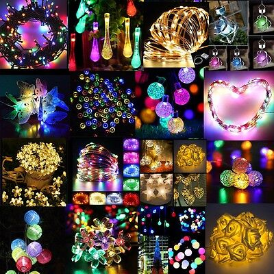 Solar / Battery Powered LED Fairy String Lights 10-200LED Xmas Party Decor Hot
