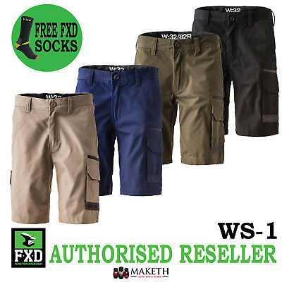 New FXD WS-1 Mens Work Shorts Free Sock Cargo Tradie Cotton Drill Workwear