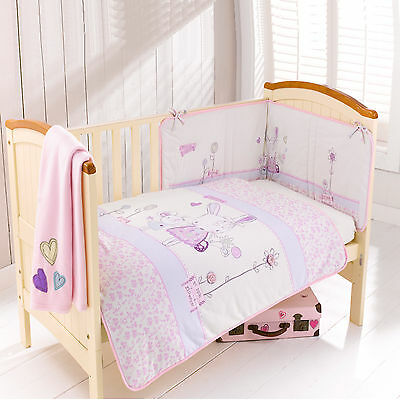 New Clair De Lune Rebecca Rabbit Cot / Cotbed 4 Piece Girls Pink Bedding Set