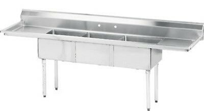 "Advance Tabco 66"" Fabricated Three Compartment Sink (Lite Series) Model FE-3-141"