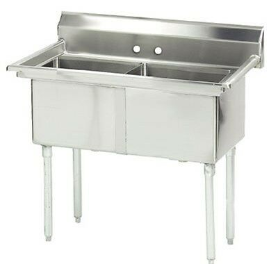 "Advance Tabco FC-2-1818-X Fabricated Economy Sink, 41"" x 24"" OA, 2 compartmen..."