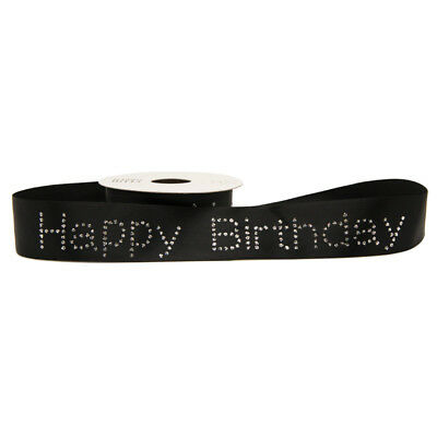 Diamante Happy Birthday Ribbon Sparkly Bling Cake Decoration BLACK 40mm x 10m