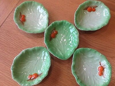 "5 X Carlton ware Individual bowls in the salad leaf/ vegetable design 4.5"" Long"