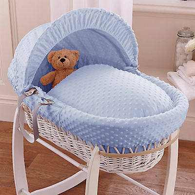 New Clair De Lune Blue Dimple Padded White Wicker Baby Moses Basket & Mattress