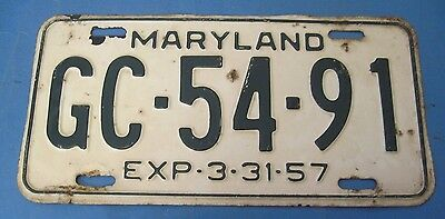 1957 Maryland License Plate