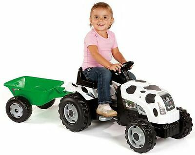 """Smoby Childrens Pedal Tractor Gm """"cow"""" & Trailer Age 3 Kids Ride On Toys"""