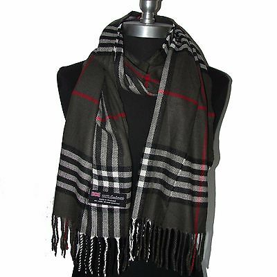 New Fashion 100% Cashmere Scarf Check Plaid Scotland Wool Wrap Soft Dark Gray#B6
