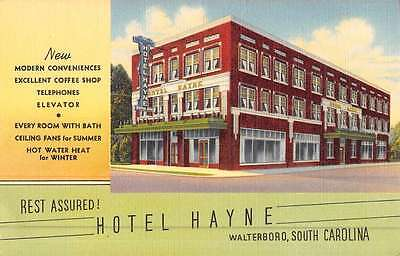 Walterboro South Carolina Hotel Hayne Street View Antique Postcard K44424
