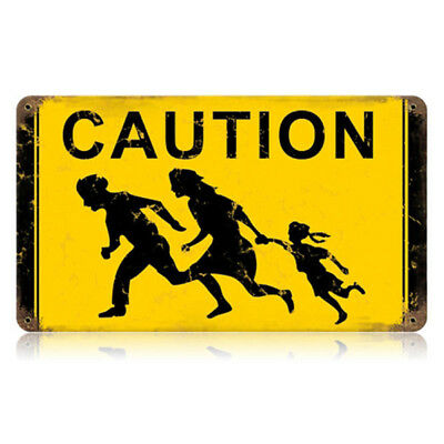 Caution Running Family Immigrants Steel Sign California Road Sign 14 x 8