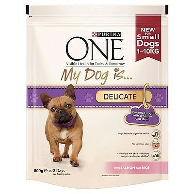 Purina One My Dog is Delicate Dry Dog Food Salmon and Rice 800 g - Pack of 4