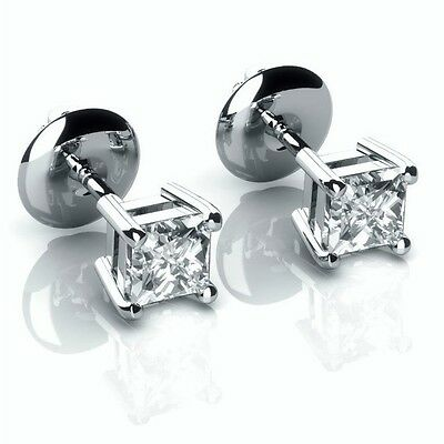 Special Offer!! 0.35 ct Princess Diamond Stud Earrings in 18K  White Gold