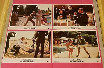 original FOR YOUR EYES ONLY LOBBY CARD LOT x4 James Bond 007 Roger Moore
