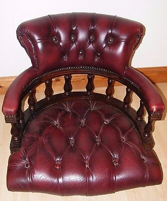 Vintage Chesterfield Oxblood Leather Captain's Chair Top Missing Base Restoratio