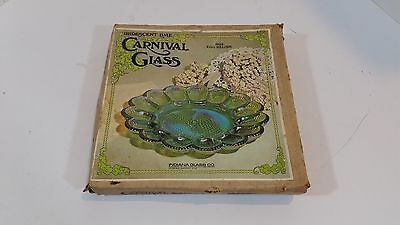 Indiana Glass Iridescent Lime Green Carnival Glass Egg Relish #7058  New in Box