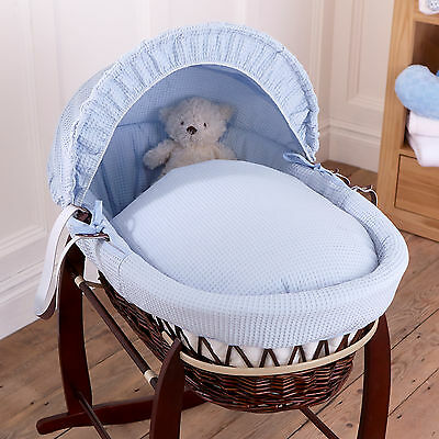 New Clair De Lune Blue Waffle Padded Dark Wicker Baby Moses Basket & Mattress