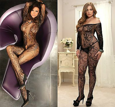 Ladies Bodystocking Crotchless Sleeved Bodysuit Open Crotch Lingerie Plus Siz 14
