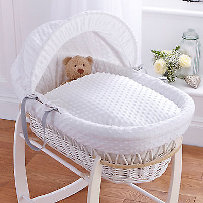 New Clair De Lune White Dimple Padded White Wicker Baby Moses Basket & Mattress
