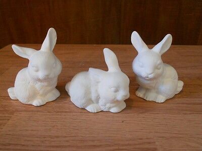 C-0668 Ceramic Bisque U Paint Set of Three Small Life-like Bunny Rabbits; Easter
