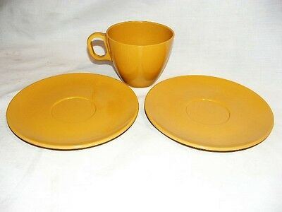 Vintage Boonton ware Melamine, Melmac  # 6206 cup and (2) saucers