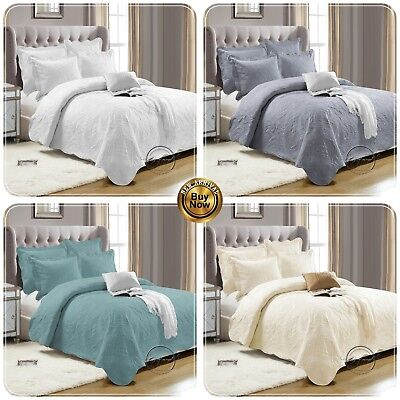 LUXURY  3 Piece Quilted Reversible Embroidered BEDSPREAD Throws With Pillow Case